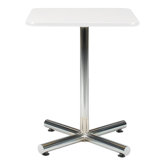 24″ Square Bar Table - White with Chrome Base